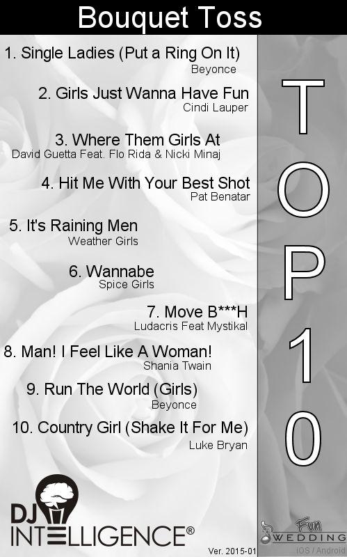 Top 10 Bouquet Toss Songs.  dropthemicentertainment.com