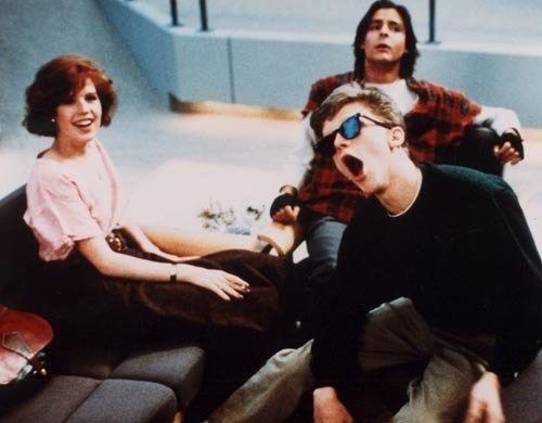 Molly Ringwald, Judd Nelson and Anthony Michael Hall during the filming of The Breakfast Club