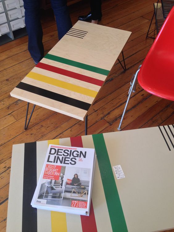 Point blanket painted coffee tables a la mid-century mod. Nice but not indigo :(