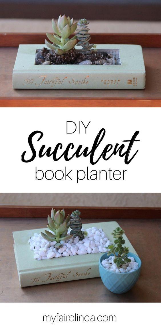 DIY succulent book planter | gardening gifts | #gardeninggifts | garden gift ideas | #gardengiftideas | best gifts for gardeners | #bestgiftsforgardeners