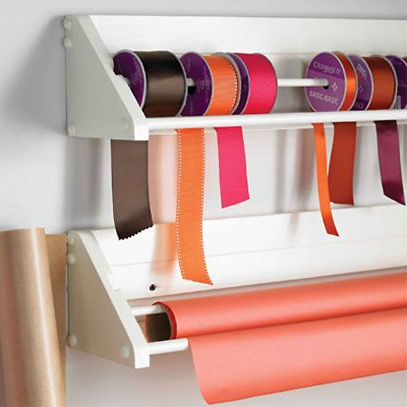 home wrapping station...cute for ribbon, but who only has one roll of wrappingg paper??