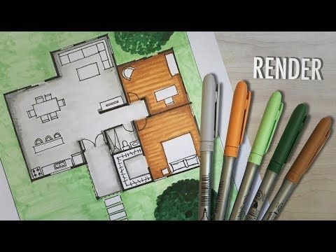 How To Render A Floor Plan By Hand Markers Youtube Floor Plan Sketch Rendered Floor Plan Plan Sketch