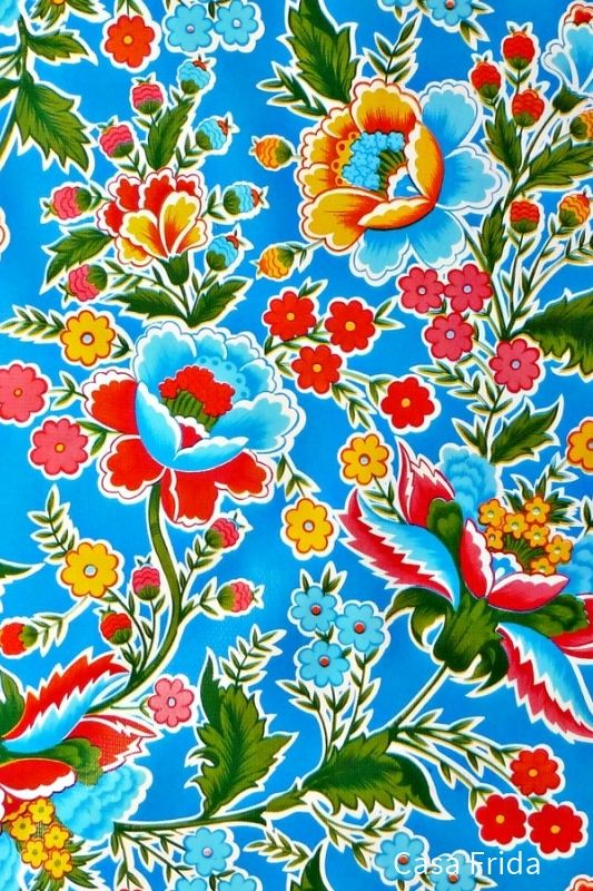 Blue Fantasia Oilcloth Vintage Mexican Tablecloth In 2020 Oil