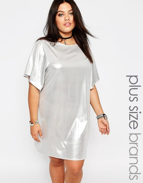 Missguided Plus Shiny T-Shirt Dress