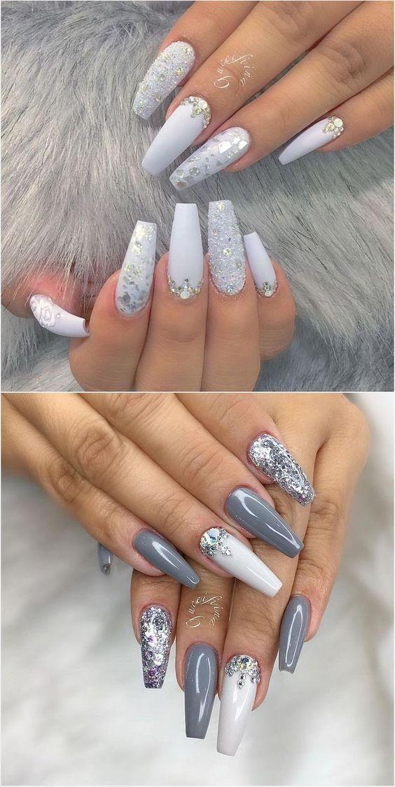 41 Nail Art Ideas For Coffin Nails The Goddess White Acrylic Nails White Glitter Nails Sparkly Nails