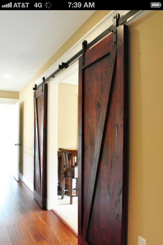 Dining room doors kitchen remodel ideas pinterest for Barn door dining room