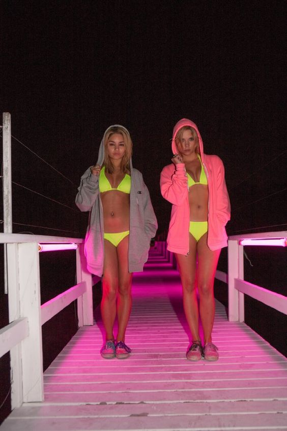 Pin for Later: The Best Bikini Moments in Movies Vanessa Hudgens and Ashley Benson in Spring Breakers Even hooded sweatshirts can't tone down the neon bikinis. Source: Muse Film
