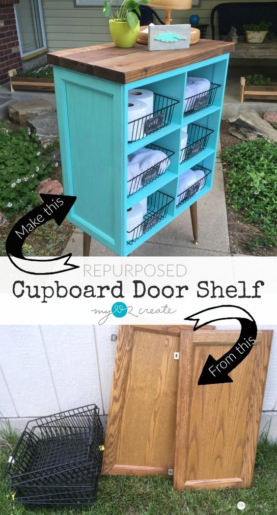 Beautify your home with this DIY Repurposed Cupboard Door Shelf, easy to follow picture tutorial so you can make your own!: