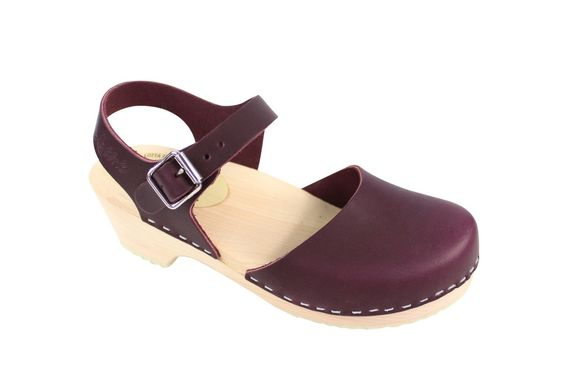 I JUST BOUGHT THESE BABIES ---  Lotta From Stockholm Womens Low Heel Closed Toe Clogs in Aubergine Leather
