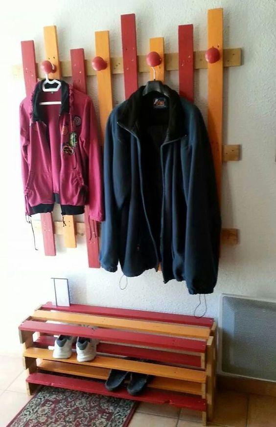 Porte manteaux avec meuble chaussures j 39 aime bricoler et r nover pi - Porte manteau avec rangement chaussures ...