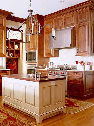 Contrasting Kitchen Islands | Wood cabinets, Style and Cabinets