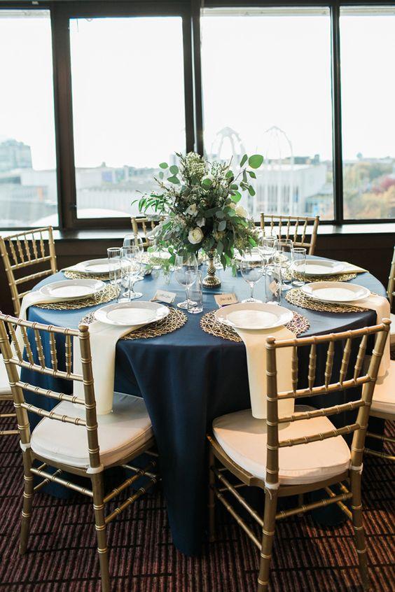 navy and gold reception - photo by Gina Paulson Photography http://ruffledblog.com/fair-isle-of-scotland-wedding-inspiration