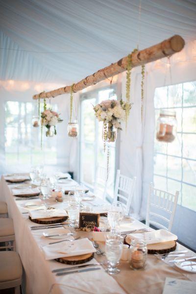 Suspended flowers and amazing wedding decor :)  Photography by greenautumn.ca/  Read more - http://www.stylemepretty.com/2013/09/05/muskoka-wedding-at-sherwood-inn-wedding-from-green-autumn-photography/