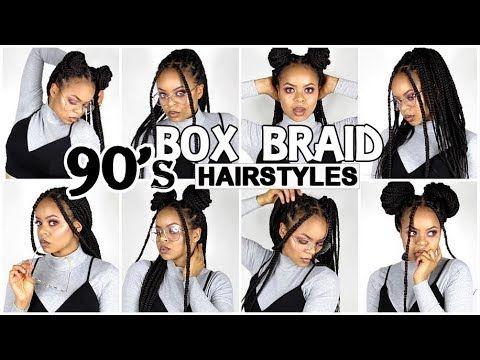 90 S Inspired Box Braids Hairstyles Youtube Box Braids Hairstyles Box Braids Styling Braided Hairstyles