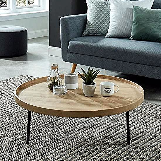 Moon Table Basse Ronde Style Industriel Decor Chene Et Pieds Metal Noir Laque O 90 Cm Achat Vente In 2020 Coffee Table Interior Decoration Accessories Furniture