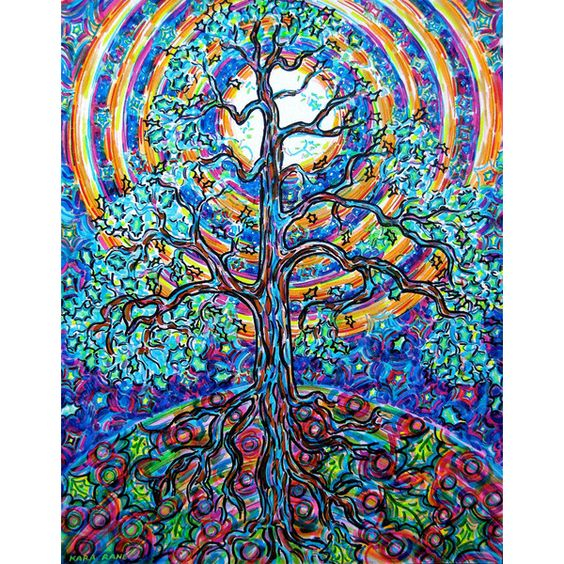 Art Print, Oak, Tree, Psychedelic, Woods, Nature, Moon, Rainbow