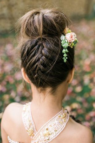 French braid top knot | Summer Wedding Hair - Our Top 20 Styles via @onefabday