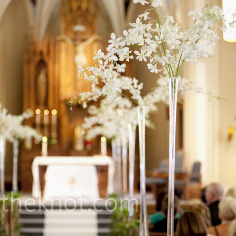 white orchid ceremony decor white orchids spilled from the top of trumpet vases along the aisle of the church ceremony pinterest the church : day orchid decor