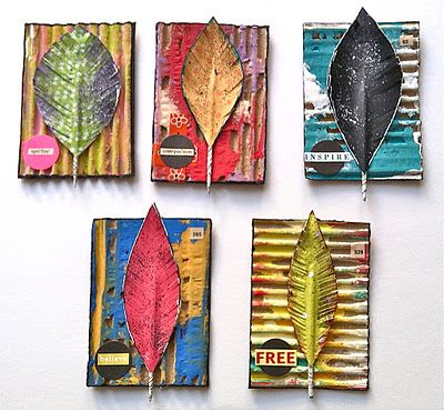 April Coles Studio - One artist. One Story. One brush stroke at a time.: Altered Corrugated Cardboard- ATCs: