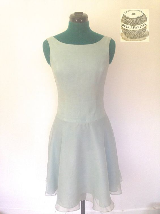 Vintage sea green summer dress. Sleeveless with by Bellafatima