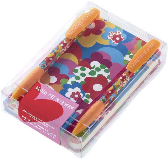 MIQUELRIUS - Agatha Ruiz de la Prada , Gift Pack (logbook + ballpen + mechanical pencil) ; Flowers