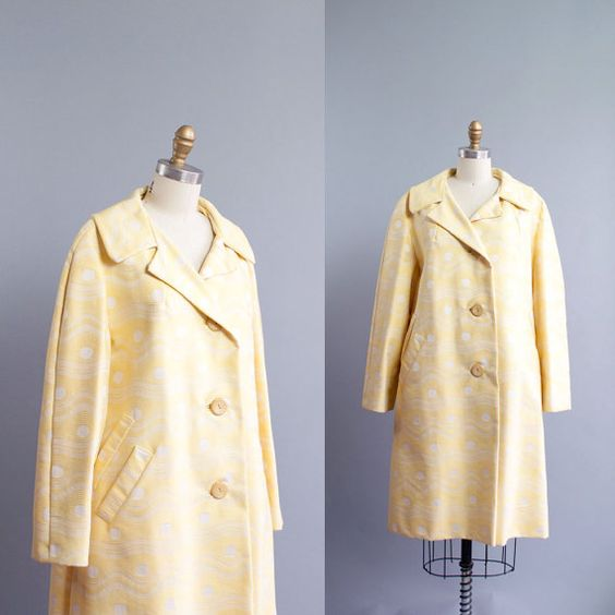 Vintage 60s Sunny Yellow Mod Print Coat / by GingerRootVintage, $69.00