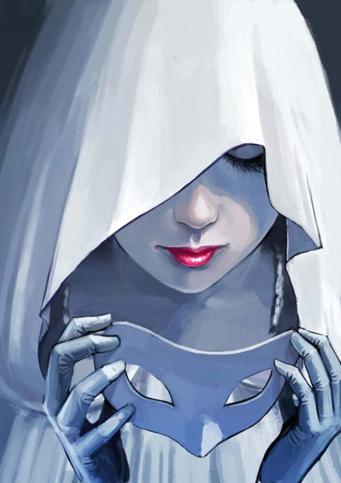 Her hood hid half her eyes but the wind was blowing, so she slipped the mask over her eyes, no chances this time.