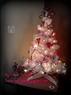 Turn a Christmas tree into a Valentine's Day tree.