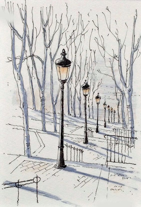 A clever perspective of a winter's day using pen - not every detail has been drawing but enough to make the drawing look complete.