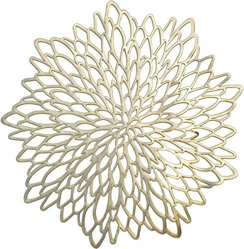 Enjoy Exclusive For Occasions 120 Pieces Pack Pressed Vinyl Metallic Placemats Wedding Accent Centerpiece Placemat Round Gold Leaf Online In 2020 Placemats Placemats Chargers Vinyl