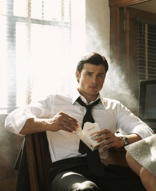 Pants. Oxford White w/ tie. Chinese takeout. Tom Welling.