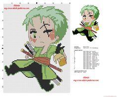 Roronoa Zoro con birra personaggio One Piece schema punto croce