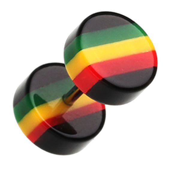 "Jamaican Rasta Stripe Acrylic Fake Plug - 16 GA (1.2mm) - Ball Size: 5/16"" (8mm) - Sold as a Pair - Sold as a Pair"