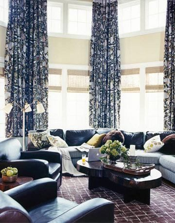 Blue Living Room Curtains : blue pattern curtains  Living Room Blue Curtains And ...
