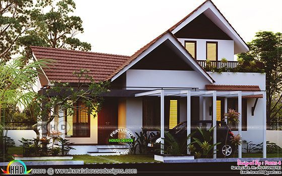 1800 Square Feet 3 Bedroom Sloped Roof Home Kerala Traditional House Modern Small House Design Small House Design