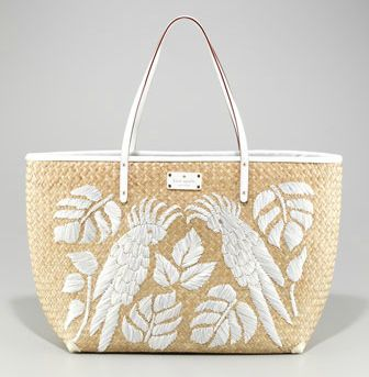 kate spade new york birds of paradise straw tote