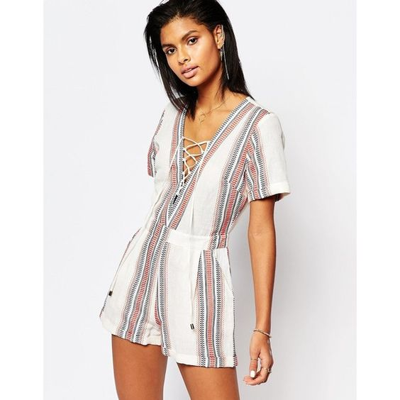 Tularosa Balboa Romper in Beatnik Stripe featuring polyvore, women's fashion, clothing, jumpsuits, rompers, beatnik stripe, cotton rompers, white romper, tall romper, playsuit romper and striped rompers
