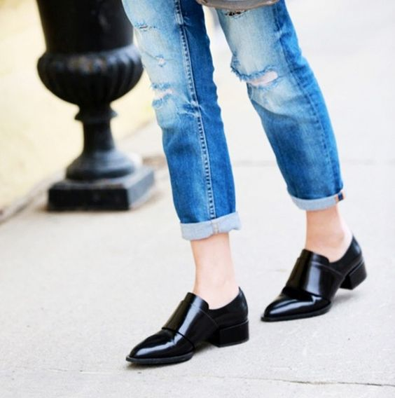 Cropped jeans and black oxfords