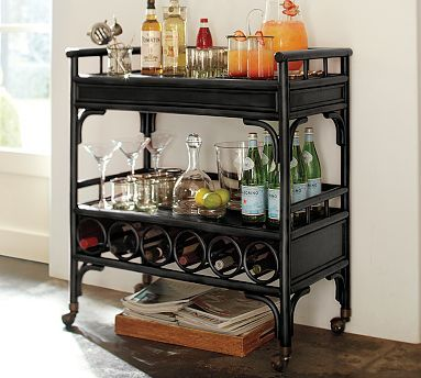Bar Cart! For those who don't have a bar area in their home... this portable one is perfect!: