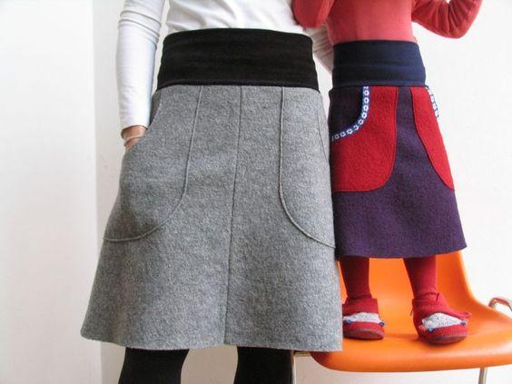 Midiröcke - Walkrock Grau + andere Farben - ein Designerstück von jumoberlin bei DaWanda