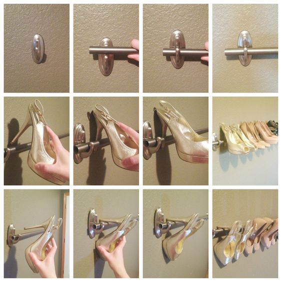 Mount a DIY shoe rack to organize your high heels using a curtain rod and Command™ Large Decorative Hooks. Create one row, or several rows depending on how many pairs of heels you have. It's a great use of wall space and eliminates taking up floor space in a bedroom or closet.: