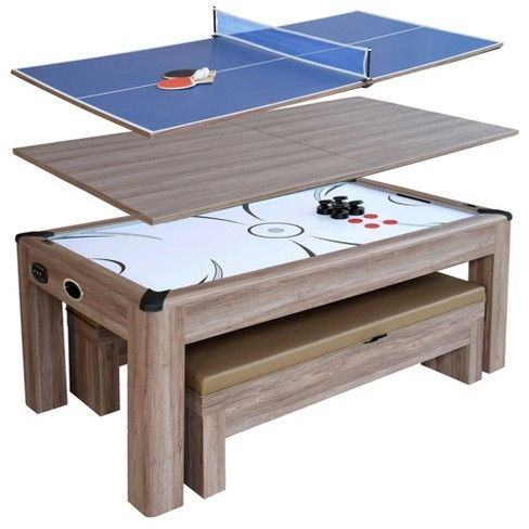 Hathaway Driftwood 7 Air Hockey Table Combo Set With Benches Woodgrain Target Air Hockey Table Multi Game Table Driftwood Table