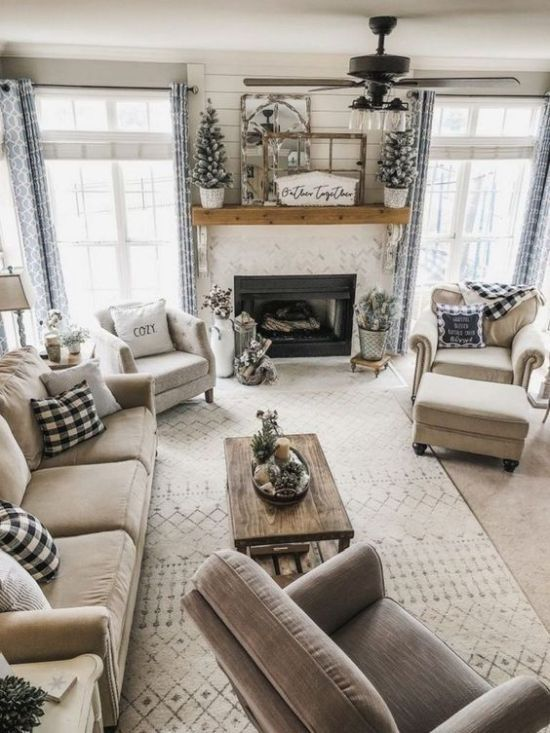 Rustic Living Room Design Ideas With Flocked Mini Christmas Trees Winter Living Room Winter Living Room Decor Farm House Living Room