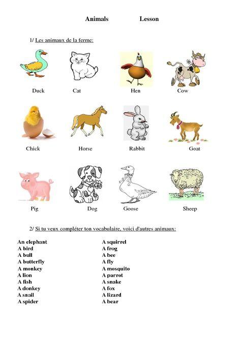 Fabuleux Animaux Animals Ce2 Cm1 Cm2 Lecon Anglais Cycle 3 Gz82 Anglais Cm1 Cm1 Anglais Cm2