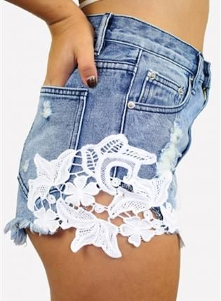 Jean Shorts With Lace - The Else