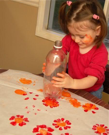 bottle flowers - great idea!