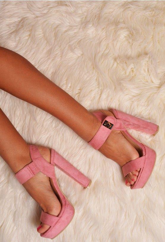 Luvina Pink Suede Effect Platform Heels