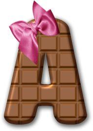 Alfabeto Decorativo: Alfabeto - Chocolate - PNG - Maiúsculas e Minúscul...