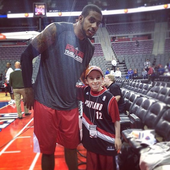 LaMarcus Aldridge And Dylan Backalar Meet Prior To Game Against The Pistons. Dylan, Like LA, Has Wolfe-Parkinson's White Syndrome, Is Raising Money To Put Defibrillators In Detroit-Area Gyms