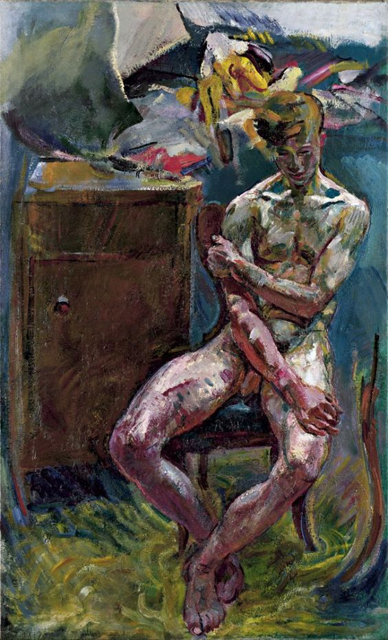 Exhibition: 'nude men: from 1800 to the present day' at the Leopold Museum, Vienna http://wp.me/pn2J2-3KH Dr Marcus Bunyan. Painting: Anton Kolig. 'Seated Youth (morning)' 1919